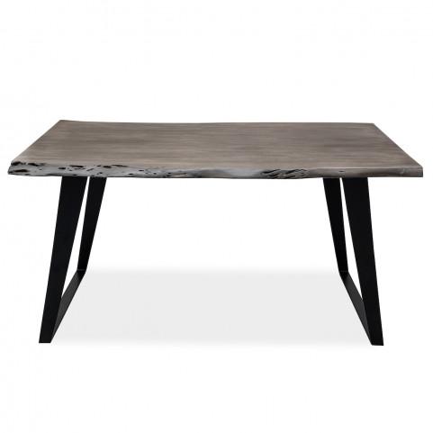 Стол лофт из массива, ДЖИВАН platinum black, 1,5 метра